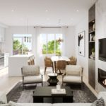 indoor sunken living room view of a Symphony Towns Oshawa home