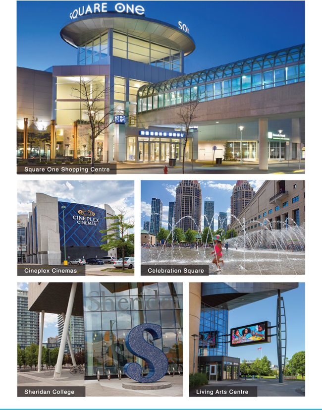 square one shopping centre, cineplex cinemas, celebration square, sheridan college and living arts centre - condominiums square one district